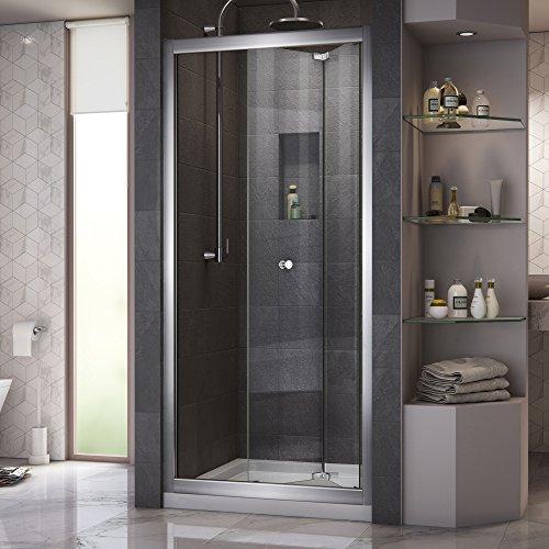 DreamLine Butterfly 32 in. D x 32 in. W Sliding Bi-Fold Shower Door in Chrome with Center Drain White Acrylic Base Kit, DL-6213C-01CL