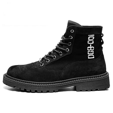 53c59d9b5535ae TK-Shoe Martin Boots Men Canvas Velvet Boots British Leather Wear-Resistant  Desert Boots Shoes Tide Male High-Top Shoes Boots/Printing Models/Black: ...