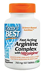 Doctor\'s Best Fast Acting Arginine Complex with Nitrosigine Supplement, 60 Count