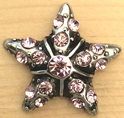 Snap Chunk Button Star with Pink Stones Charm for Ginger Snap Style Jewelry SE-2581