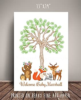 """Floral Woodland Creatures Baby Shower Nursery Art, Guest """"Book"""" Alternative, Brown Thumbprint Tree - Printed on Fine Art Paper - WCFBRTH"""