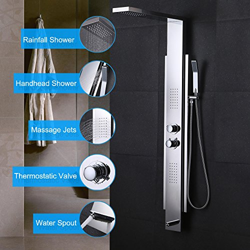Dual Control Exposed Valve (KES SUS 304 Stainless Steel Thermostatic Shower Panel 4-Function Rainfall Shower Head Handheld Showerhead Massage Side Spray Tub Spout Bathroom Wall Rain Shower System, Polished, XP2500)
