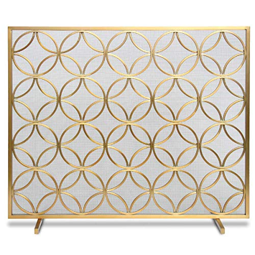 Pilgrim Home and Hearth Pilgrim Bedford Fireplace Screen 18311, Brushed - Fireplace Screen Large Brass