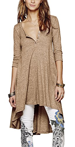 urban-coco-womens-half-sleeve-high-low-loose-casual-t-shirt-top-tee-dress-large-khaki