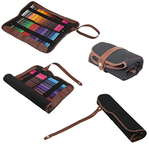Everyday Essentials Premium Colored Pencils - Set of 72 Individual Colors with Roll up Pouch Canvas Pen Bag (72-Color) by GLTECK (Image #1)