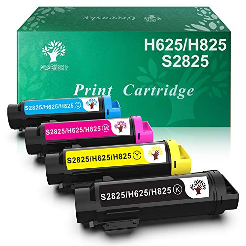 GREENSKY Compatible Toner Cartridge Replacement for Dell H625 H825 S2825 4 Packs Black Cyan Yellow Magenta Pages 3000 ()