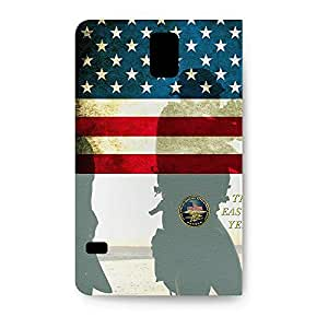 Leather Folio Phone Case For Samsung Galaxy S5 Leather Folio - Navy Seals USA Designer Premium