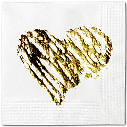 Brush Stroke Heart 50- pack Decorated Disposable Party Napkins, 5x5