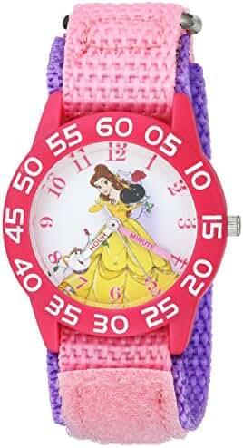 Disney Girl's 'Princess Belle' Quartz Plastic and Nylon Casual Watch, Color:Pink (Model: WDS000223)