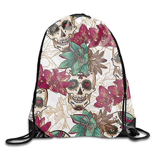 Sugar Skulls & Flowers 3D Print Drawstring Backpack Sport Daypackon -