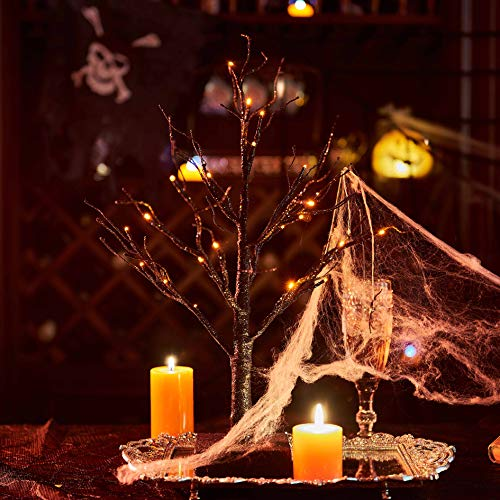 Spooky Trees For Halloween (Hairui Tabletop Black Spooky Tree Glittered with Orange Lights 24 LED 18 Inches for Halloween Witch Decoration Battery Operated Indoor)