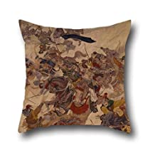 pillow covers of oil painting Kawashima Jimbei Ii - The Mongol Invasion 16 x 16 inches / 40 by 40 cm,best fit for couch,relatives,club,living room,kitchen,wife each side