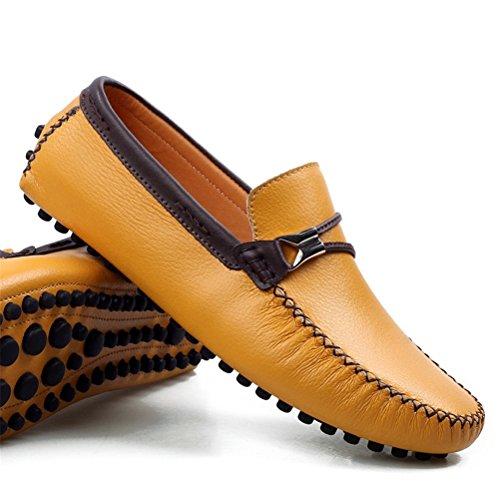 Altijd Mooie Heren Casual Lederen Penny Loafers Gele Schoenen Geel