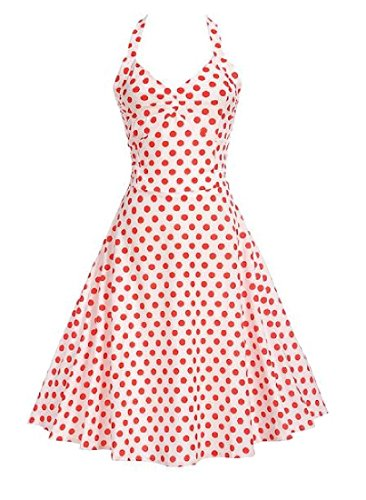 Women 50s Party Retrol Coolred Dress Dot Picnic Halter Polka As3 Hepburn d0IqqBUn