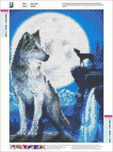 5D Diamond Painting by Number Kit Wolf in The Moonlight in 12x16 inches DIY Crystal Rhinestone Cross Stitch Embroidery Arts Craft Supplies for Home Wall Decor