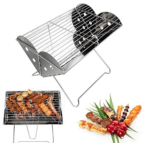 Foldable Charcoal (Portable Camping Grill-Glamouric Charcoal BBQ Grill Portable Mini 13.6 Inch Stainless Steel Foldable for Outdoor Picnic Hiking Backpacking Roasting)