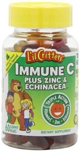 L'il Critters Gummy immunitaire C Plus de zinc et l'échinacée, Complément alimentaire pour les enfants, des bouteilles 60-Count (pack de 4)