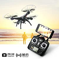 KiiToys Camera Drone X5SW Live Video Quadcopter - RC FPV Live View Feed on your Smart Phone 720p 2MP HD Camera, Easy to Fly (2018)