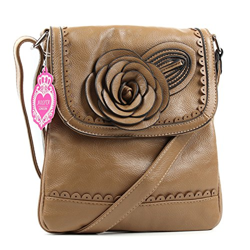 Round Bigger Faux Flower Ladies With Make Khaki Satchel Bag Crossbody Leather Side Aossta Zip Hwqv6p