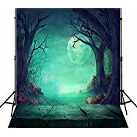 5x7 ft  Halloween Moon Photography Background with Pumpkin Light Green Wood Block Backdrops Photo for Children