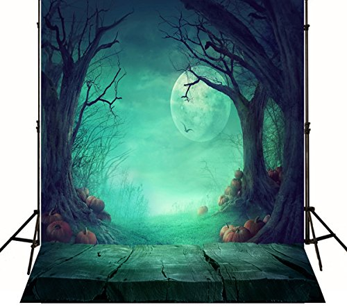 5(w)x6.5(h)ft Halloween Moon Photography Background with Pumpkin Light Green Wood Block Backdrops Photo for Children ZJ-J01802 (Pumpkin Background)