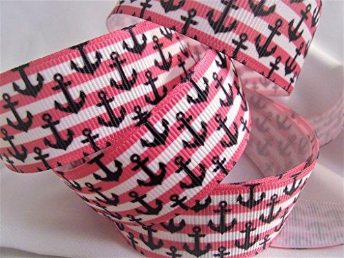 1 Pink Ribbon - Grosgrain Ribbon - Nautical Print - 10 Yards Hot Pink & White Stripes With Navy Anchors - 1