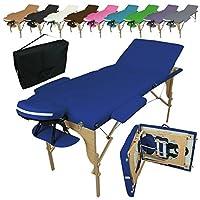 Vivezen Table de massage pliante 3 zones en bois avec panneau Reiki + Accessoires et housse de transport - 10 coloris - Norme CE - Bleu
