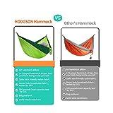 "HODGSON Camping Hammock XL Double Hammock with Heavy Duty 14 Loops Tree Straps & Air Pillow, Portable Parachute Nylon Hammock for Backpacking, Travel, 118"" x 78"""