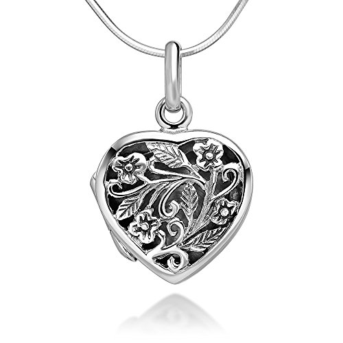 (Sterling Silver 15 mm Open Filigree Flower Heart Shaped Locket Pendant Necklace, 18