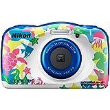 Nikon COOLPIX W100 - Fotocamera digitale compatta impermeabile, 13,2 megapixel, Lunghezza focale da 4,1 a 12,3 mm, Multicolore (Animaux Marins)