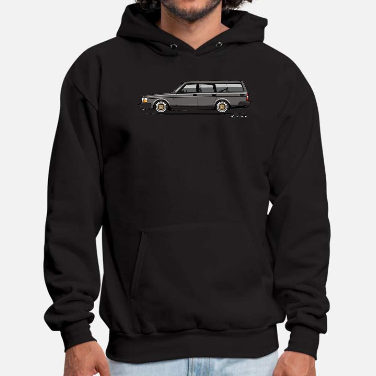 Men's Hooded Pullover Sweatshirt Funny Connorx27;s Volvo 240