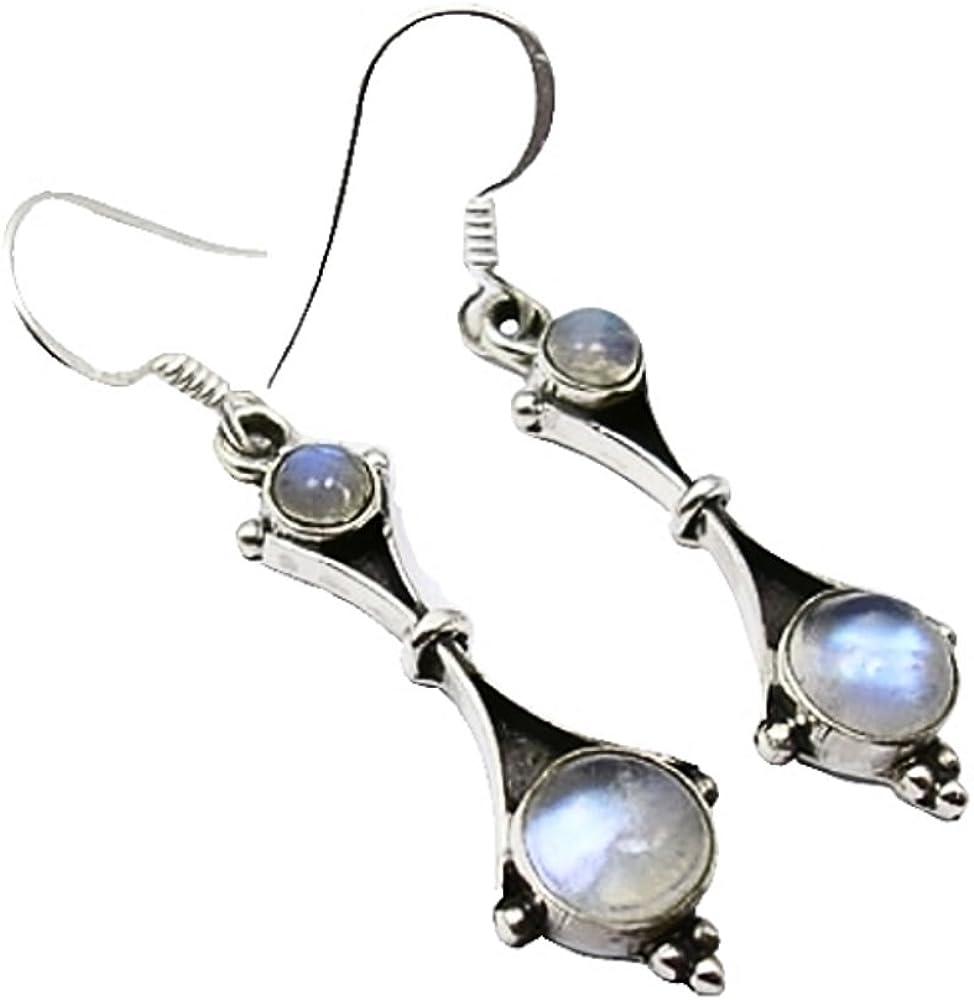Unique pendientes para la mujer piedra de luna plata de ley 925 joyeria de calidad