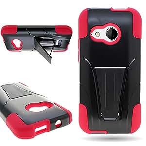 CoverON® Kickstand Hard + Soft Dual Layer Hybrid Case for HTC One Mini 2 - Black Hard Plastic + Red Soft Silicone
