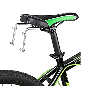 SUPOW Two Water Bottle Holder Cage Adapter Saddle [Aluminum Alloy Material] - For Bike Bicycle Cycling Back Seat (Sliver)