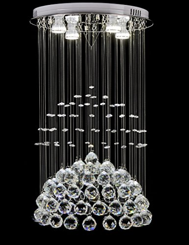 Top Lighting Modern Rain Drop LED Chandelier with Crystal Balls Ceiling Lighting Fixture W16″xL16″xH26″ Bulbs Included