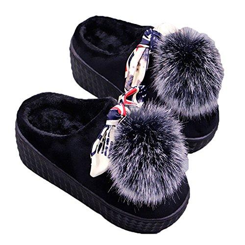 Cybling Women Warm Indoor Shoes Cute Cartoon Zachte Huis Slipper Dikke Zool Antislip Zwart