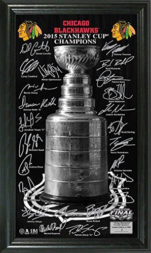 "NHL Chicago Blackhawks 2015 Stanley Cup Champions ""Trophy"" Signature Photo, 22"" x 15"" x 4"", Black"