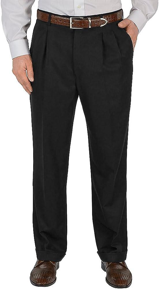 Paul Fredrick Mens Microfiber Solid Pleated Pants