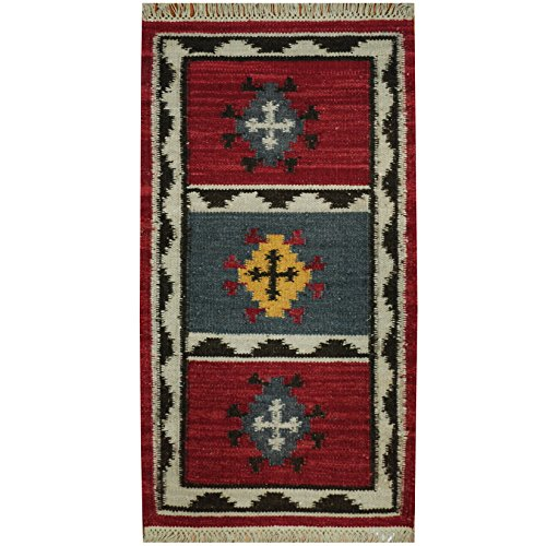Herat Oriental Indo Hand Woven Tribal Vegetable Dye Kilim Wool Rug, 2'3