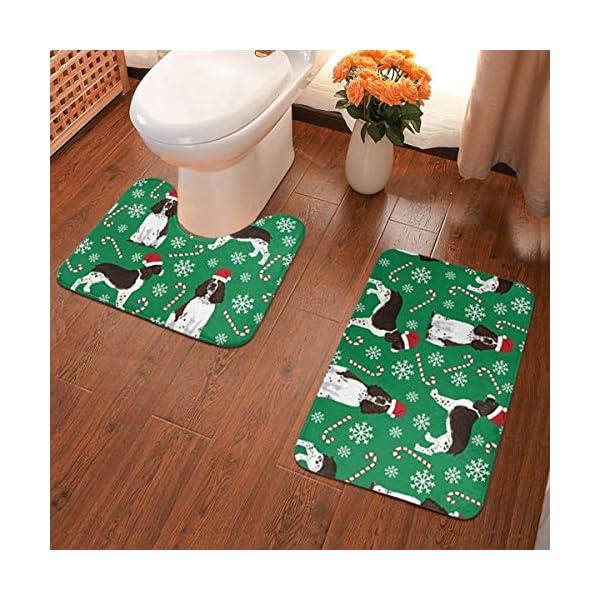 Tina6qfhgx English Springer Spaniel Santa Christmas Bathroom Contour Rugs Combo Set of Soft Shaggy Non Slip Bath Shower Mat and U-Shaped Toilet Floor Rug 1