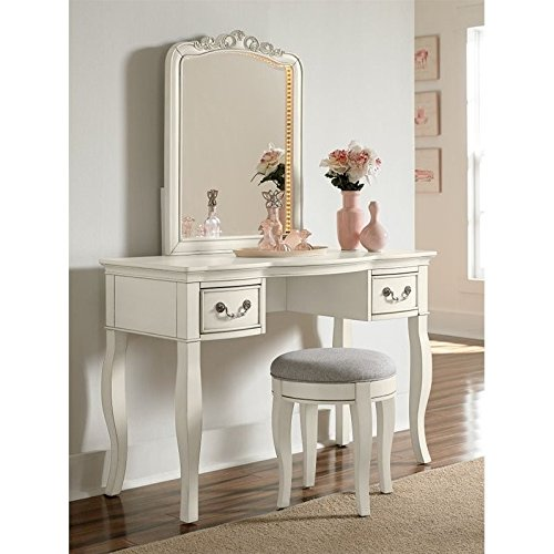 Hillsdale Kids and Teens 20540NDVC Kensington Writing Desk with Vanity Mirror and Stool, Antique White by Hillsdale Kids and Teens