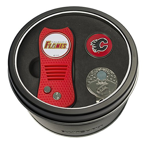 Team Golf NHL Calgary Flames Gift Set Switchblade Divot Tool, Cap Clip, & 2 Double-Sided Enamel Ball Markers, Patented Design, Less Damage to Greens, Switchblade Mechanism