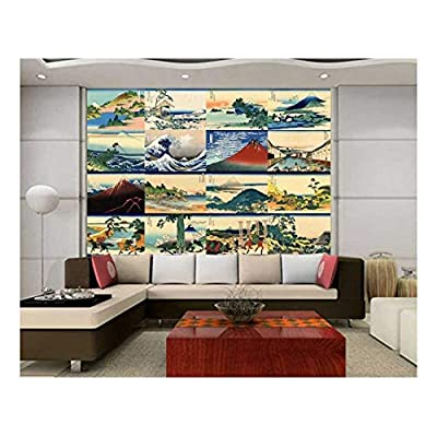 Peel and Stick Wallpapaer Japanese Style Paintings Collage by Hokusai Removable Large Wall Mural Creative Wall Decal, Made With Love, Beautiful Artistry