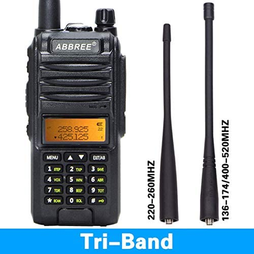 Abbree AR-F3 Tri-Band VHF, 1.25M, UHF 136-174 220-260 400-520 MHz Amateur Handheld Portable Ham Two Way Radio