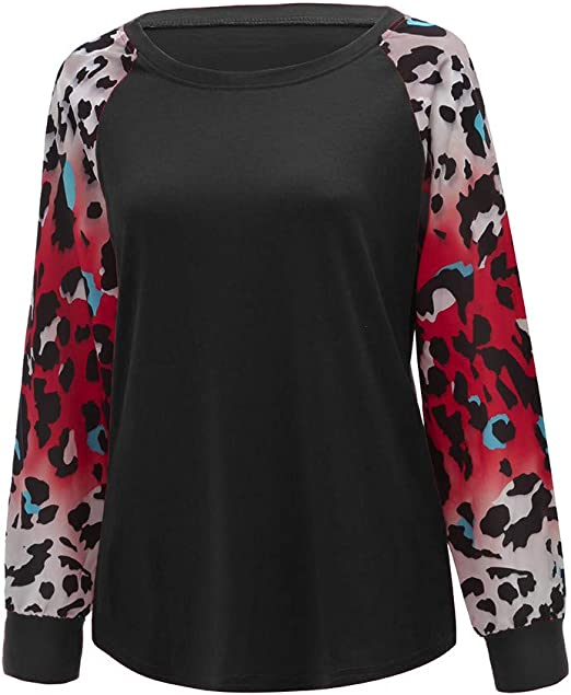 Smileyth Women Pullover Sweatshirt Blouse Casual Round Neck Cute Horse Print Leopard Long Sleeve Patchwork Fashion Ladies T-Shirt Oversize Comfortable Tops