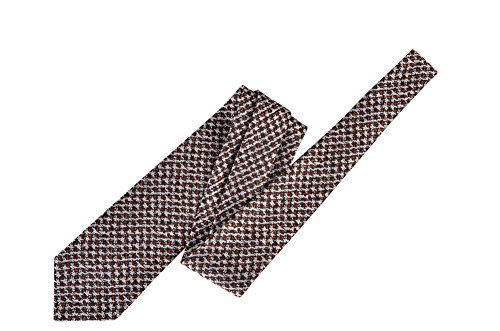 Tom Ford Brown Geometric Silk Skinny Neck Tie by Tom Ford..