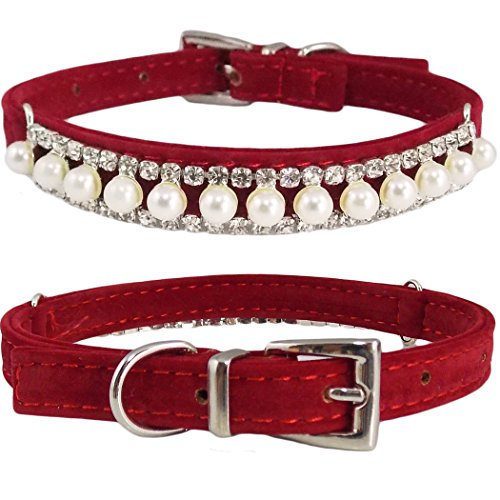 "WwWSuppliers Adjustable Velvet PU Suede Leather Bling Diamonds and Pearls Fashion Collar for Dogs, Puppies, Cats or Kittens (SMALL 7 1/2""- 10 1/2"") (Red)"