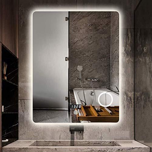 QZ La Pared del LED con luz Espejo de bano, con Espejo de Maquillaje Regulable tactil Boton + Antivaho + Pantalla Digital de Tiempo/Temperatura Espejo de bano, Espejo de la Tabla Vestir + Tricolor r