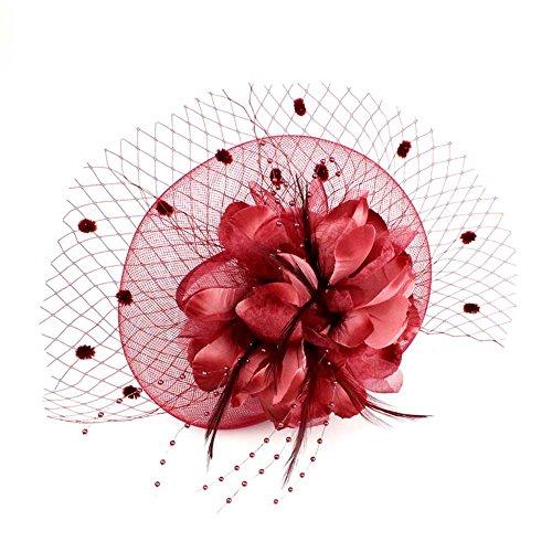 Auranso Big Flower Handmade Headband Netting Mesh Cocktail Hat Party Girls Women Fascinator Hairband Wine Red -
