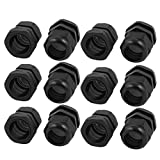 uxcell PG29 19-25mm 44mm x 50mm Waterproof Adjustable Cables Gland Black 12pcs